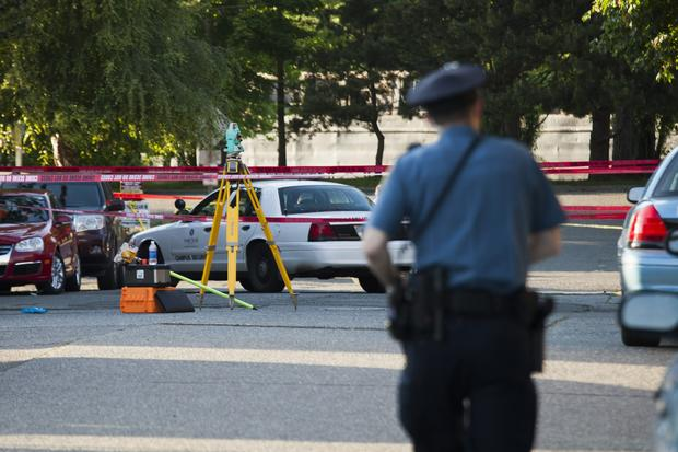 Police scouring scene of shooting on campus of Seattle Pacific University in Washington on June 5, 2014