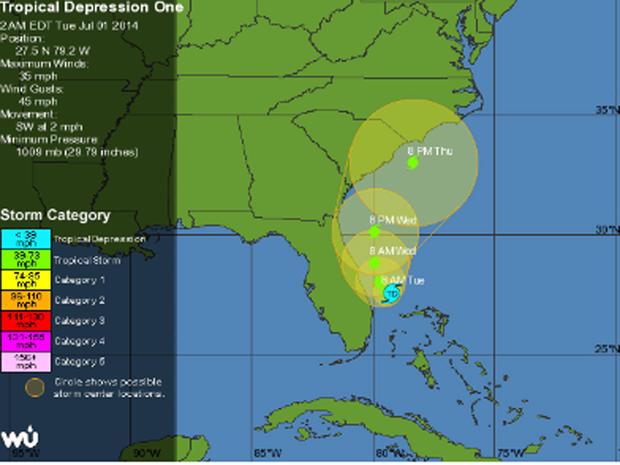 2014年7月1日佛罗里达州附近的热带低气压预计将迅速增长为大西洋飓风季节的首次风暴