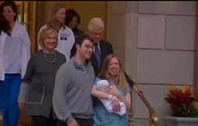 Watch: Baby Clinton leaves the hospital