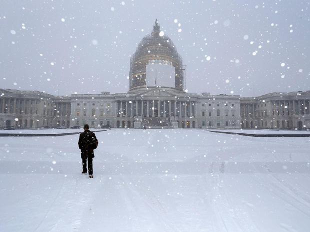 雪华盛顿国会大厦冷