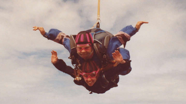Amy Gellert takes to the skies