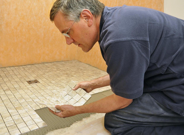 Installing tile in bathroom