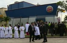 Pope Francis stops into Burger King to change robes