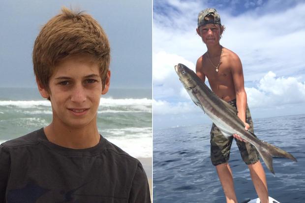 这张由美国海岸警卫队提供的照片组合而成,显示左边的佩里科恩和14岁的奥斯汀斯蒂芬诺斯。