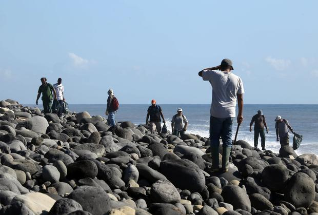 Employees of environmental protection and coastal cleanup organisations look for debris from the ill-fated Malaysia Airlines Flight 370 on a beach in Sainte-Marie de la Reunion, between Champ Borne and the Rivière du Mât river, on the French Reunion Island in the Indian Ocean