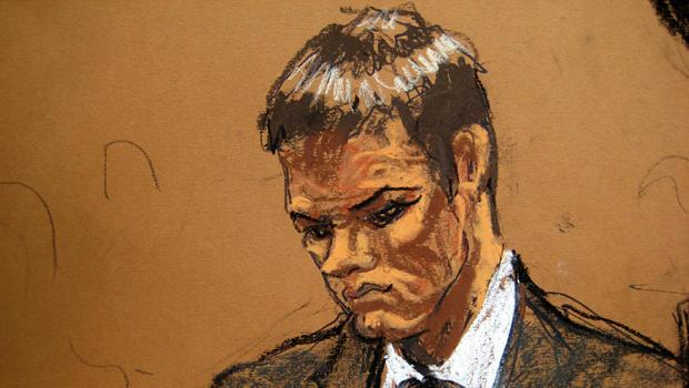 新英格兰爱国者四分卫汤姆布拉迪于2015年8月12日在纽约曼哈顿联邦法院被Jane Rosenberg在这幅素描中看到。