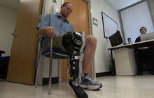 Amputee controls bionic leg with brainwaves