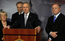 Senate leaders react to passage of debt limit, shutdown bill