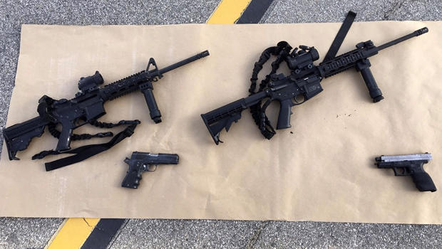 Weapons confiscated from the attack in San Bernardino, California, are shown in this San Bernardino County Sheriff Department handout photo from its Twitter account Dec. 3, 2015.