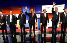 Republican candidates debate without Donald Trump center stage