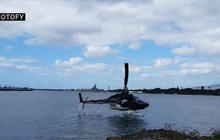 Helicopter crash-lands in water in Hawaii