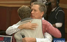 Watch: John Kasich comforts crying supporter during event