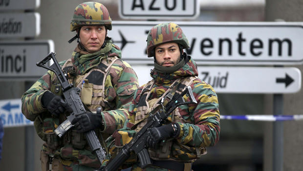Belgian troops control a road leading to Zaventem airport in Brussels, Belgium, March 24, 2016, two days after the city was attacked.