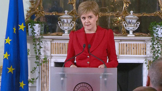 A still image from video shows Scotland's First Minister Nicola Sturgeon speaking following the results of the EU referendum, in Edinburgh, Scotland, June 24, 2016.