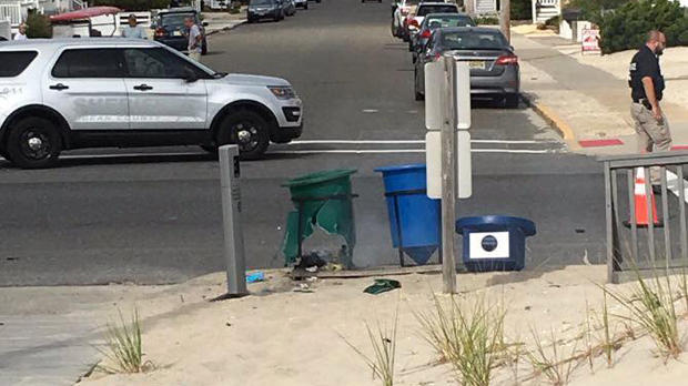 An explosive device detonated inside a garbage can near a charity racecourse in Seaside Park, New Jersey, on Sept. 17, 2016.