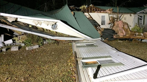 Storm damage is seen in the Arley area of Winston County, Ala., Nov. 29, 2016.