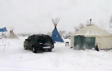 Dakota Access Pipeline protesters refuse to leave as snowstorm hits