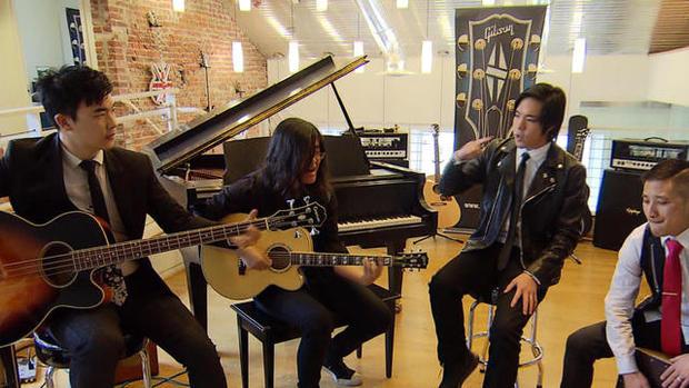 """2017年1月18日,Slants在""""CBS今晨""""的节目中演出的亚裔摇滚乐队。"""