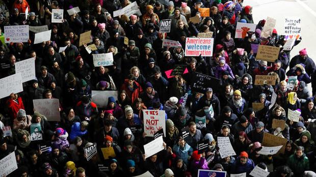 Protesters slam Trump immigration ban