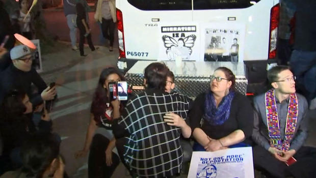 Demonstrators arrested during protest over a woman's deportation