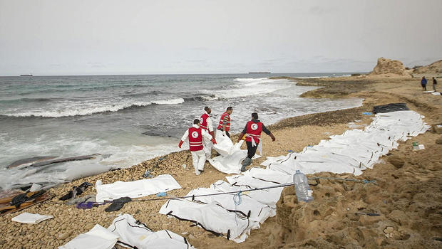 Dozens of bodies washed ashore on Libyan beach