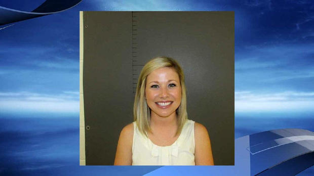 Sarah Fowlkes is seen in a police booking photo provided to CBS affiliate KEYE-TV.