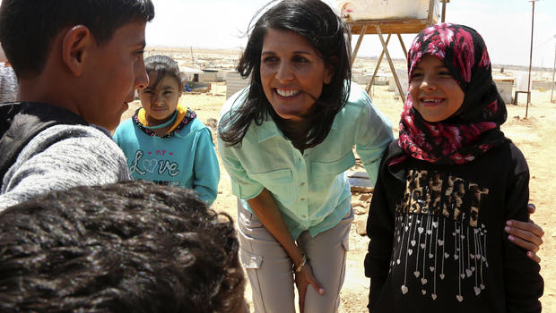 At refugee camp, Trump envoy Haley vows more aid for Syrians