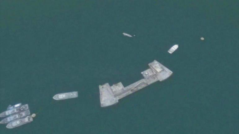 USS Cole refueling dophin