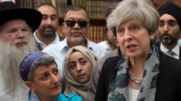 Britain's Prime Minister Theresa May speaks to faith leaders in Finsbury Park Mosque, near the scene of an attack in London, Britain, June 19, 2017.