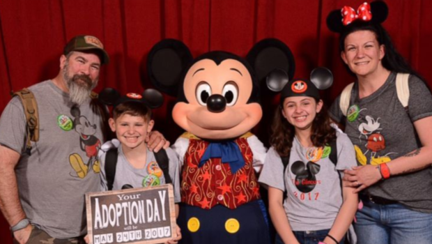 Family enlists Mickey Mouse to break adoption news to kids