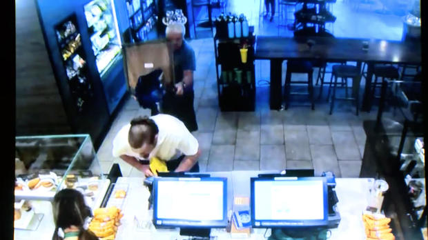 Customer stabs would-be robber at Starbucks
