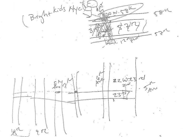 Dr. Buchbinder's hand-drawn map