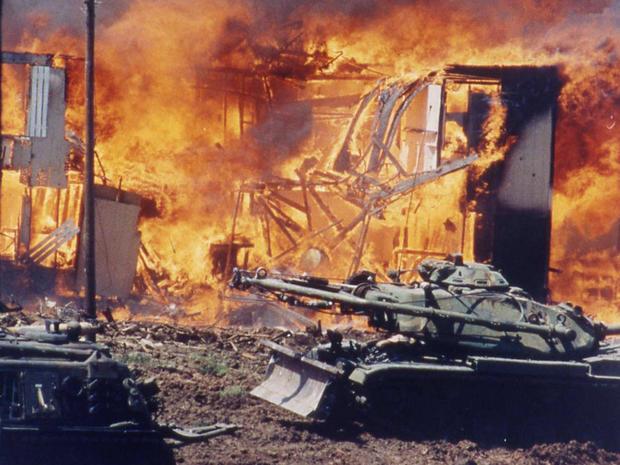 在韦科,德克萨斯州分支Davidian邪教组织的火灾