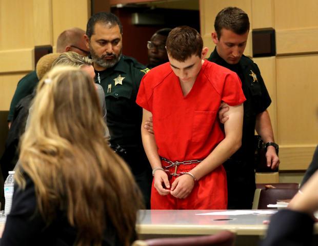 Nikolas Cruz在佛罗里达州Parkland的Marjory Stoneman道格拉斯高中举行的大规模枪击事件中面临17项有预谋谋杀罪的指控,于2018年2月19日出现在劳德代尔堡布劳沃德巡回法官Elizabeth Scherer的法庭上。