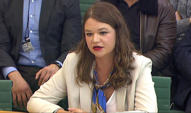 Brittany Kaiser, former Director of Program Development at Cambridge Analytica, speaks to Parliament's Digital, Culture Media and Sports committee in Westminster, London