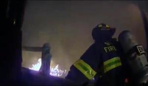 Firefighter's helmet cameras capture dramatic rescue