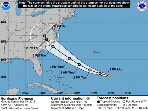 国家飓风中心制作的地图显示了截至下午5点佛罗伦萨飓风的预计路径。 ET于2018年9月10日。