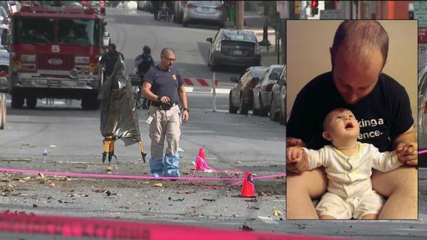 """周末爆炸杀死了他2岁的儿子Jonathan""""J.J.""""的Jacob Schmoyer。施莫耶和一位朋友,66岁的大卫霍尔曼。"""