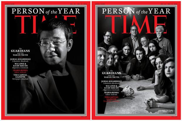 菲律宾记者Maria Ressa和Capital Gazette报纸的工作人员在2018年12月11日的时间年度人物中将这些封面组合起来。