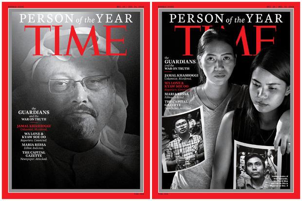沙特记者Jamal Khashoggi,左,Ma Pan Ei Mon和Chit Su Win,拍摄他们的丈夫,路透社记者Wa Lone和Kyaw Soe Oo的照片,这些封面的组合形象被看作是时代年度人物中的记者2018年12月11日。