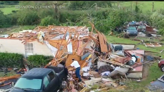 Social media images of damaged planes and buildings in the aftermath of a tornado in Monroe, Louisiana