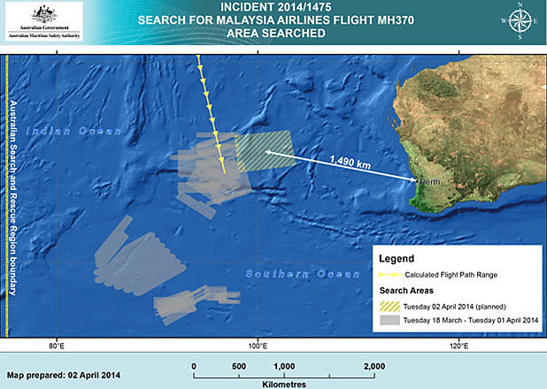 Malaysia Airlines Flight 370 search area for April 2