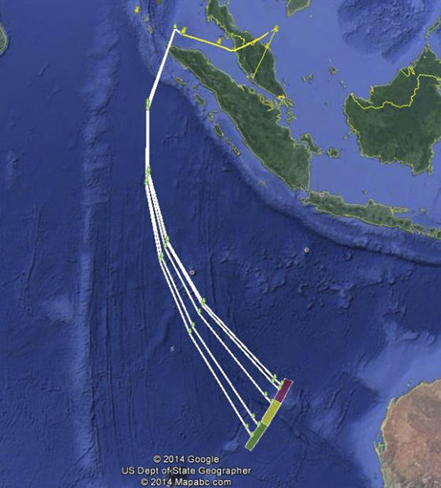 A map shows the possible path of Malaysia Airlines Flight 370 as released to Reuters by the Malaysian Transport Ministry May 1, 2014.
