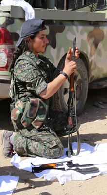 Kurdish militia member Akina Akin