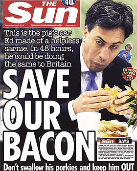 """The pre-election front page of Britain's """"The Sun"""" tabloid"""
