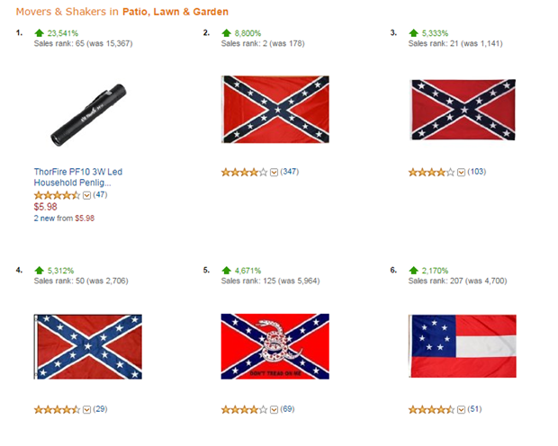 amazon s confederate flag sales skyrocket cbs news