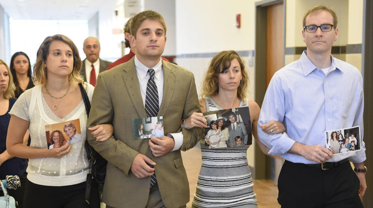 [Dr. Robert Neulander's children, Jenna, Ari, Emily and Brian, arrive to court for the sentencing of their father.
