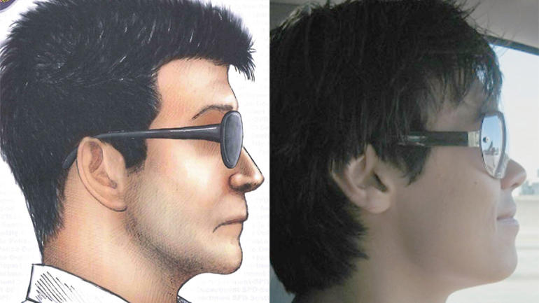The suspect sketch released by Seattle Police, left, and Dinh Bowman, right
