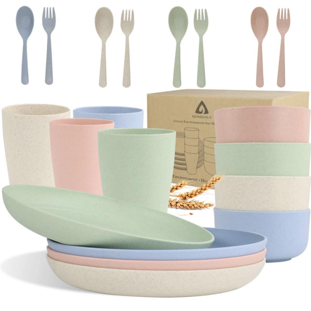 Homienly wheat straw dinnerware set