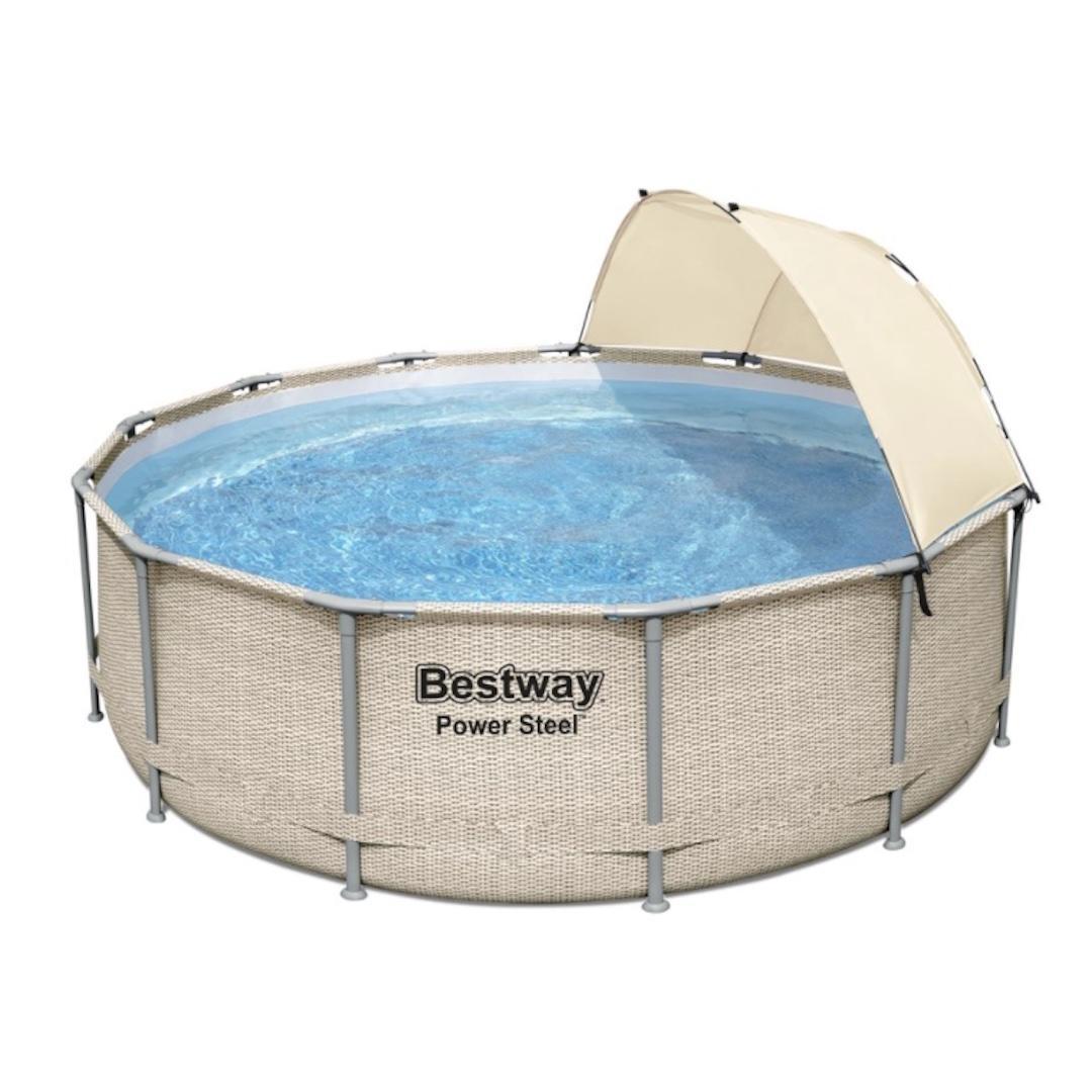 Bestway power steel round above ground pool set